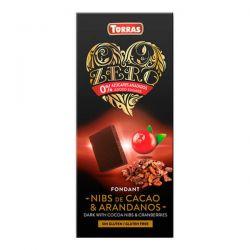 Chocolate Negro con Nibs de Cacao y Arándanos - 125g